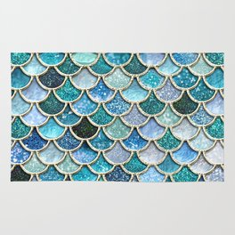 Multicolor Aqua Mermaid Scales - Beautiful Abstract Glitter Pattern Rug