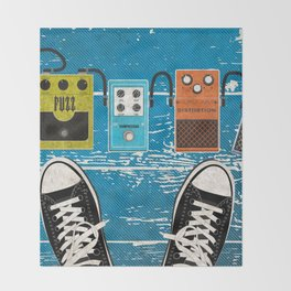 Guitar Music Effect Pedals Throw Blanket