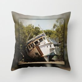 Grounded boat in need of some care Throw Pillow