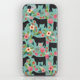 Show Steer cattle breed floral animal cow pattern cows florals farm gifts iPhone Skin
