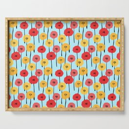 Bright Sunny Mod Poppy Flower Pattern Serving Tray