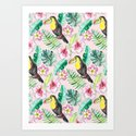 Tropical Toucan Paper-Cut Floral by tangerinetane