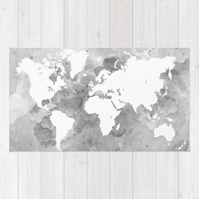 Design 49 grayscale world map rug by artbylucie society6 design 49 grayscale world map rug gumiabroncs Images