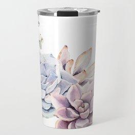 Pristine Succulents Blue and Pink Travel Mug