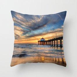 Beach Pier Throw Pillow