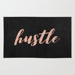 Hustle Rose Gold Pink on Black Rug