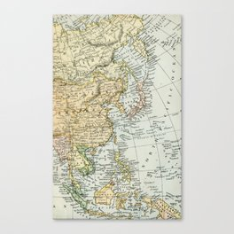 China, Russia, Japan Vintage Map Canvas Print
