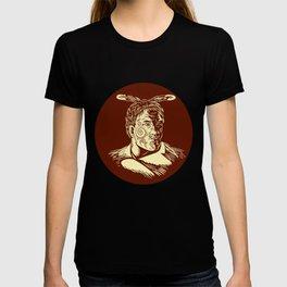 Maori Chieftain Head Oval Woodcut T-shirt