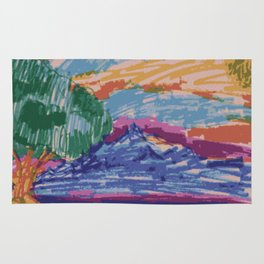 Felt tip pen kids drawing Mountain View With Tree Rug