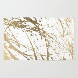 Artistic white abstract faux gold paint splatters Rug