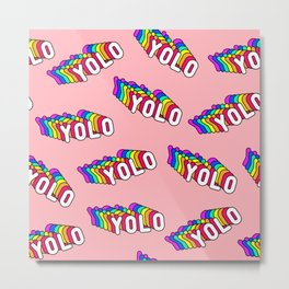 """Patches with rainbow words """"YOLO"""" (you only live once) Metal Print"""
