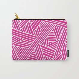 Abstract pink & white Lines and Triangles Pattern - Mix and Match with Simplicity of Life Carry-All Pouch