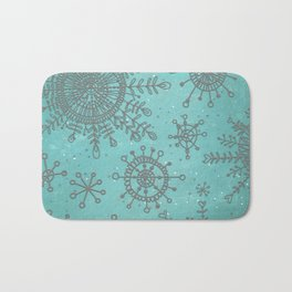 Blue and Silver Snowflakes Bath Mat