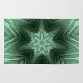 Green Star Flower Blossom Metallic Color #Pattern #Background Rug