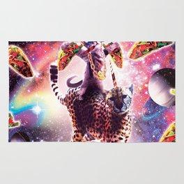 Thug Space Cat On Cheetah Unicorn With Taco Rug