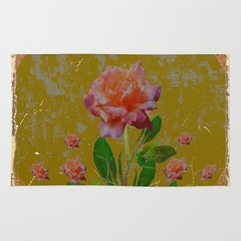 ANTIQUE AVOCADO COLOR  CORAL  PINK ROSES BOTANICAL ART Rug