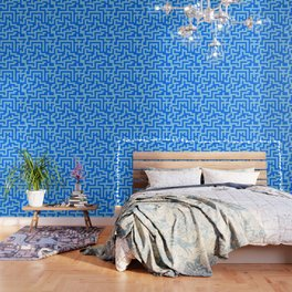 Baby Blue and Brandeis Blue Labyrinth Wallpaper