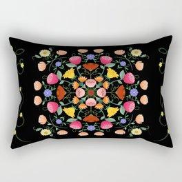 Folk Art Inspired Garden Of Fantastic Floral Delight Rectangular Pillow