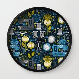 Garden of Sewing Supplies - Navy Wall Clock