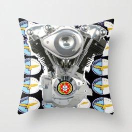 Black Knucklehead Biker Flag Throw Pillow