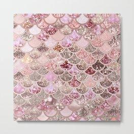 Rose Gold Blush Glitter Ombre Mermaid Scales Pattern Metal Print