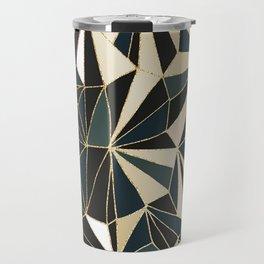 New Art Deco Geometric Pattern - Emerald green and Gold Travel Mug
