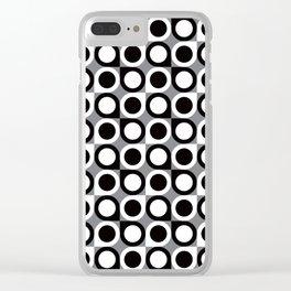 Geometric Pattern #193 (black gray circles) Clear iPhone Case