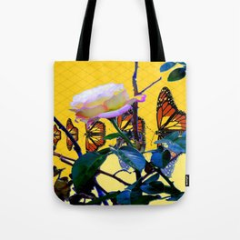 MONARCH BUTTERFLIES & ROSE ABSTRACT Tote Bag
