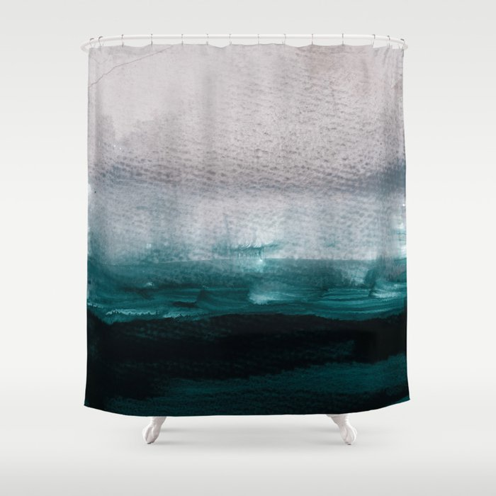 Pale Pink Over Dark Teal Shower Curtain