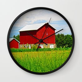 Red Barns and Field Wall Clock