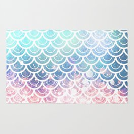 Mermaid Scales Turquoise Pink Sunset Rug