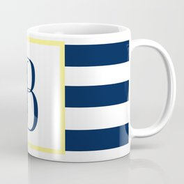 Monogram Letter B in Navy Blue it Yellow Outlined Box Coffee Mug