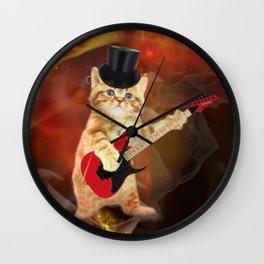 rocker cat in flames Wall Clock