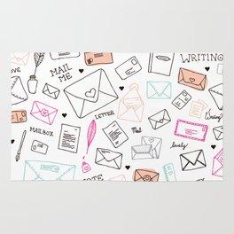 Love letter illustration pattern design Rug