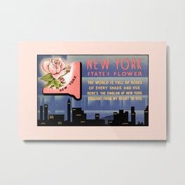 New York state flower vintage greetings from Metal Print