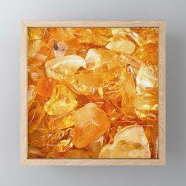"""Amber Quartz Solar Orange Crystal Opal Gem Stone"" Framed Mini Art Print"