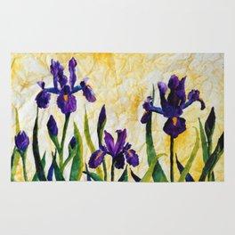 Watercolor Wild Iris on Wrinkled Paper Rug