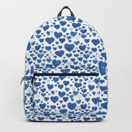 Blue Watercolour Heart Pattern Backpack
