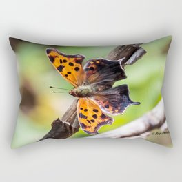 Eastern Comma Butterfly Landscape with Art Filter Rectangular Pillow