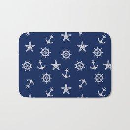 Navy Blue Nautical Pattern Bath Mat
