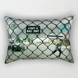 Behind a skate park fence Rectangular Pillow