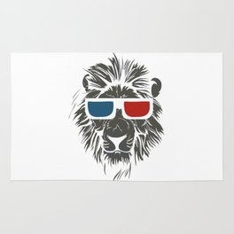 Lion with 3D sunglasses Rug