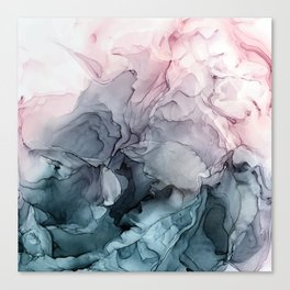 Blush and Payne's Grey Flowing Abstract Painting Leinwanddruck