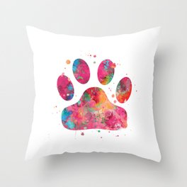 Colorful Paw Throw Pillow