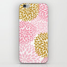Pink and Gold Dahlias floral art iPhone Skin