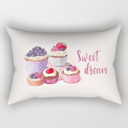 Sweet dream Cute cupcakes with berries Hand-drawn illustration Rectangular Pillow