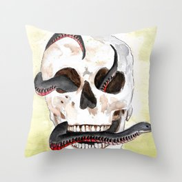 Red-Belly Black Snake Skull Throw Pillow