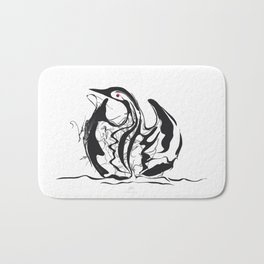 Swan-1. Black on white background-(Red eyes series) Bath Mat