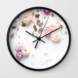 SPRING FLOWERS IN BLUSH 1 Wall Clock
