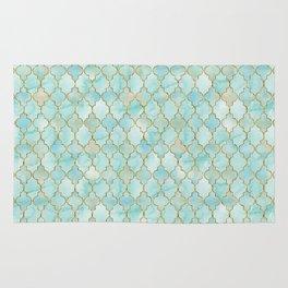 Luxury Aqua and Gold oriental pattern Rug